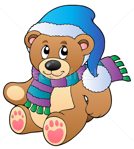 Cute teddy bear in winter clothes vector illustration ...