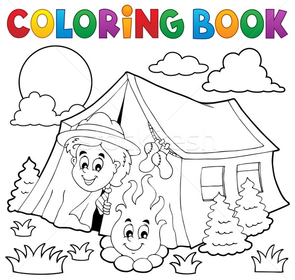 Coloring book scout camping in tent Stock photo © clairev