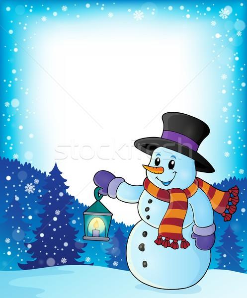 снеговик фонарь изображение счастливым свет кадр Сток-фото © clairev