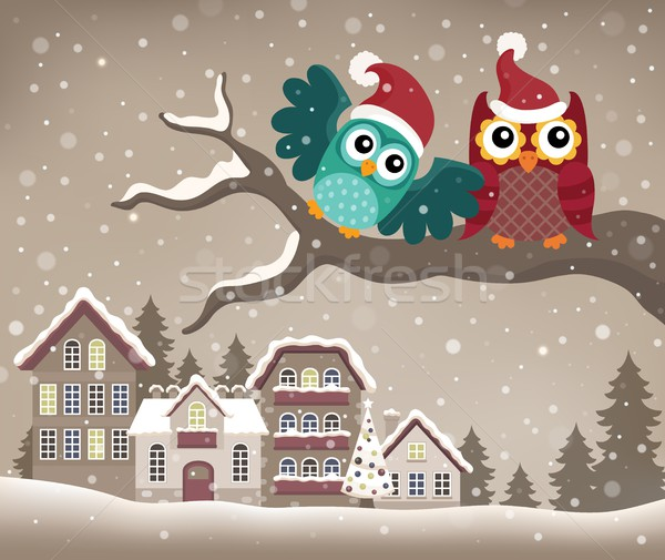 Christmas owls on branch theme image 3 Stock photo © clairev