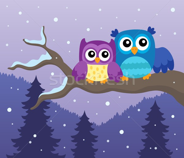 Stylized owls on branch theme image 1 Stock photo © clairev