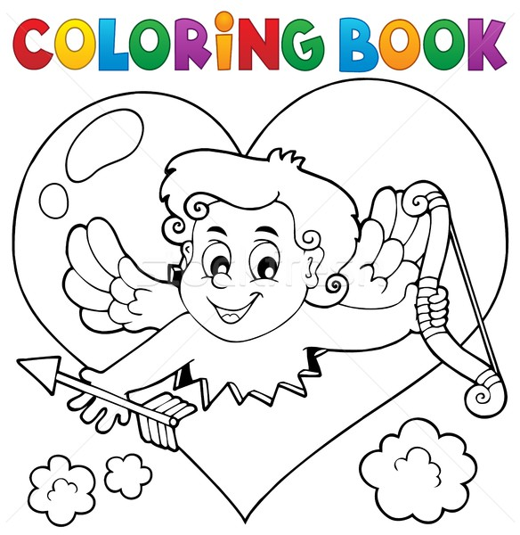 Coloring book with heart and Cupid Stock photo © clairev