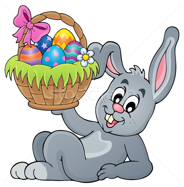 Bunny holding Easter basket theme 5 Stock photo © clairev