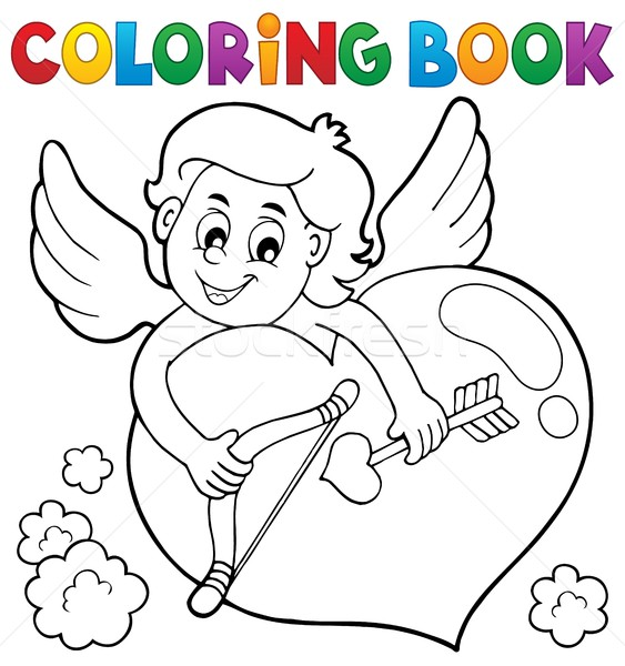 Coloring book Cupid topic 2 Stock photo © clairev