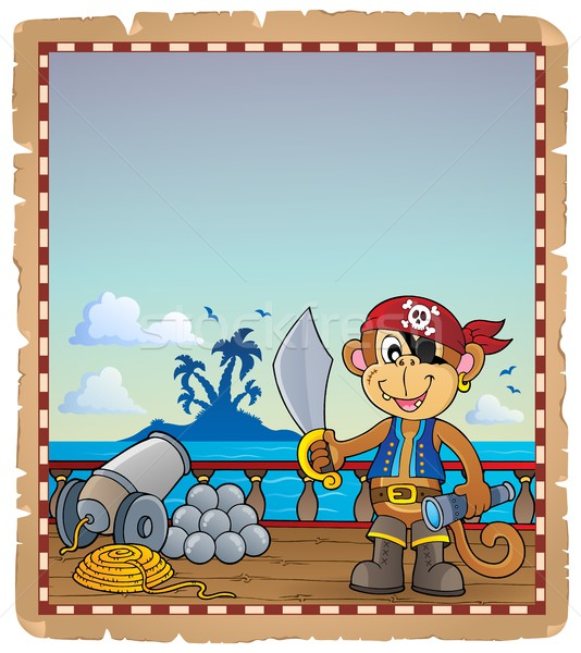 Parchment with pirate monkey on ship Stock photo © clairev