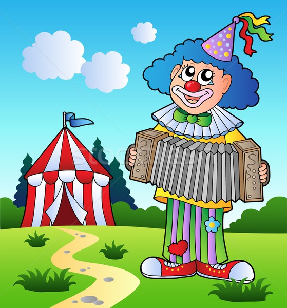 Stock photo: Clown playing accordion near tent