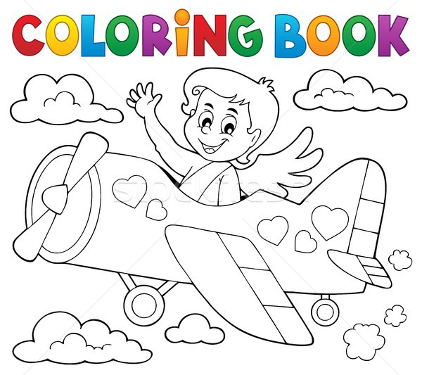 Coloring book Cupid topic 5 Stock photo © clairev