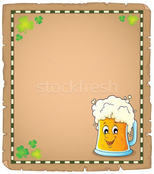 Bier Pergament Papier Frühling Blatt Klee Stock foto © clairev