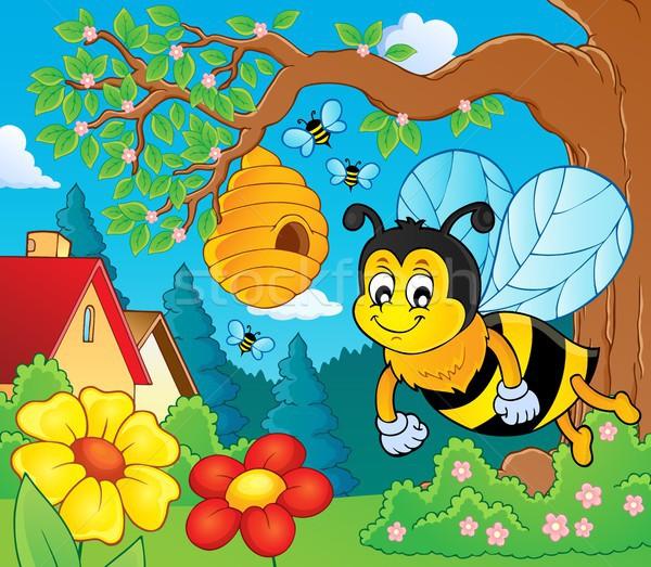 счастливым весны Bee тема изображение цветок Сток-фото © clairev