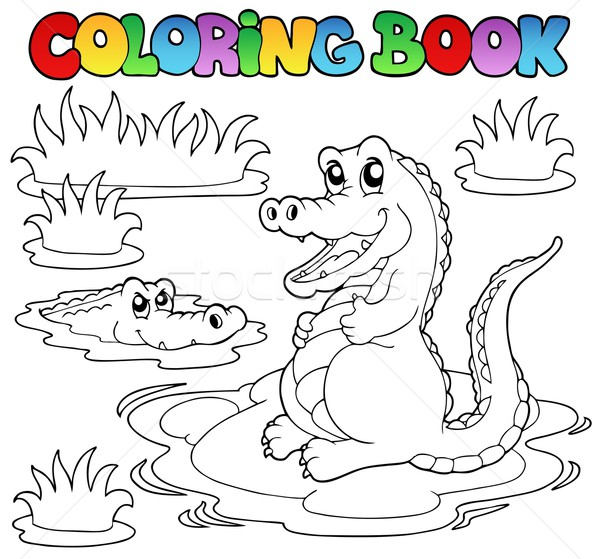 Coloring book with two crocodiles Stock photo © clairev
