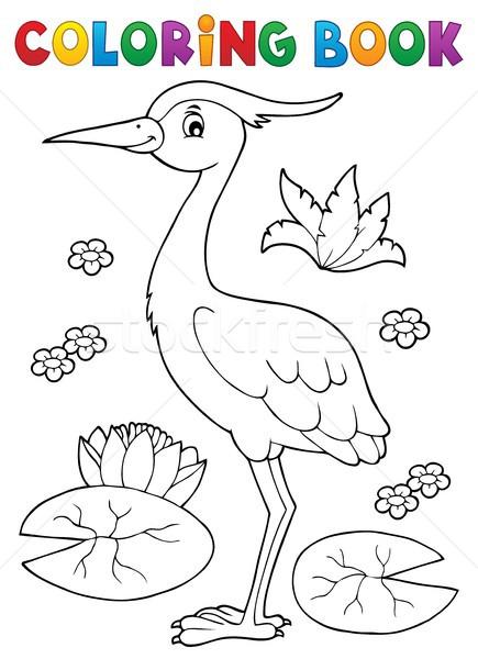 Kolorowanka ptaków temat książki szczęśliwy charakter Zdjęcia stock © clairev