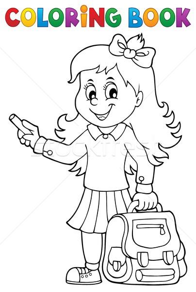 Boyama Kitabı Mutlu Kız Kitap çocuk öğrenci Vektör