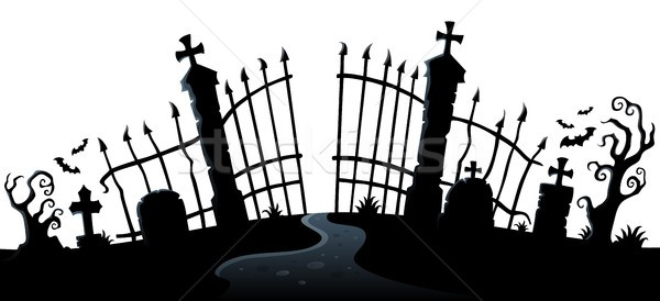 Cemetery gate silhouette theme 2 Stock photo © clairev