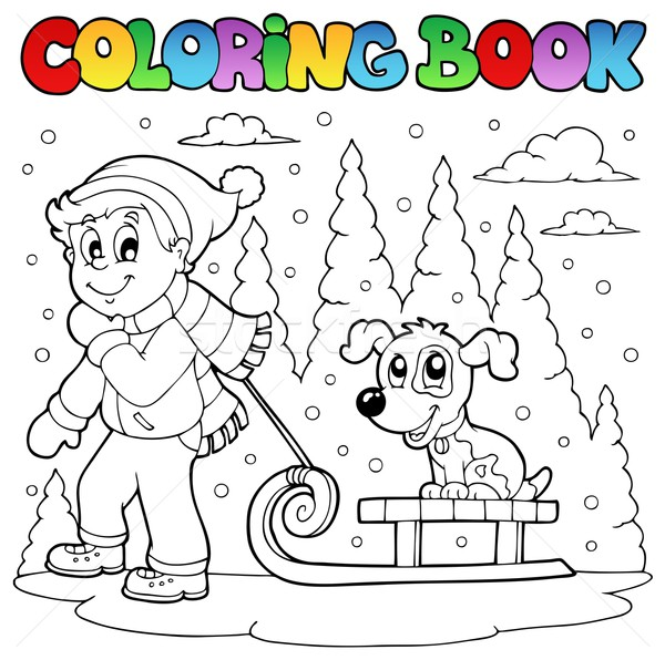 Coloring book winter theme 1 Stock photo © clairev
