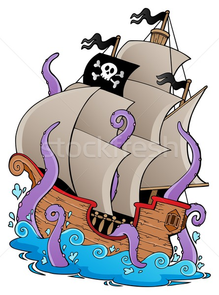 Old pirate ship with tentacles Stock photo © clairev