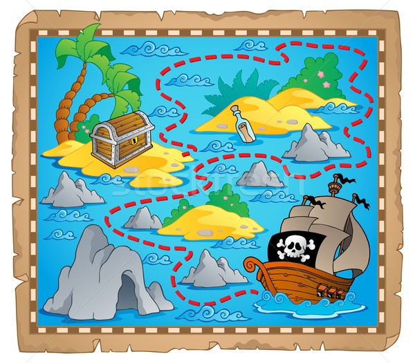 Schatkaart afbeelding papier zee kunst zand Stockfoto © clairev