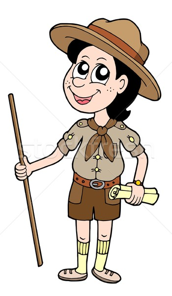 Boy scout with walking stick Stock photo © clairev