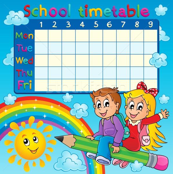 Schule Zeitplan Bild Mädchen Sonne Kind Stock foto © clairev