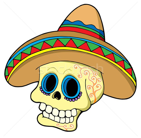 Mexican skull in sombrero Stock photo © clairev