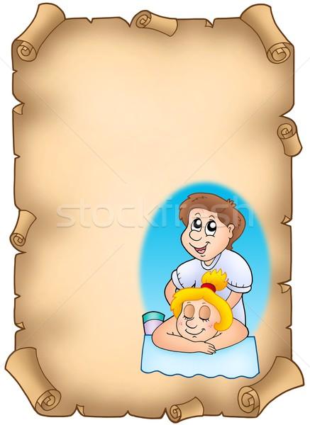 Pergamen rajz szín illusztráció lány kéz Stock fotó © clairev
