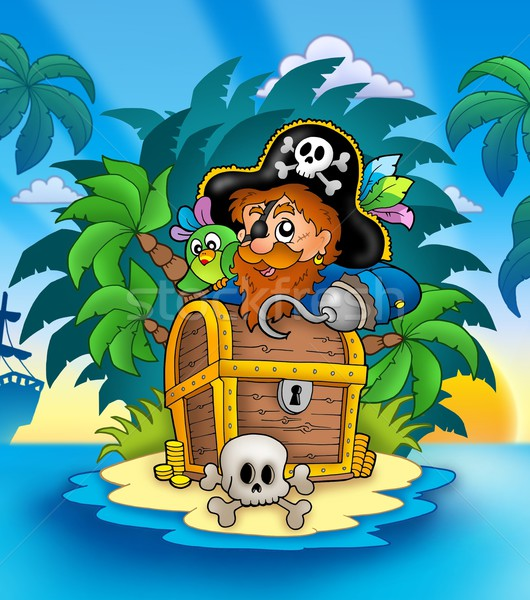 Small island with pirate and chest Stock photo © clairev