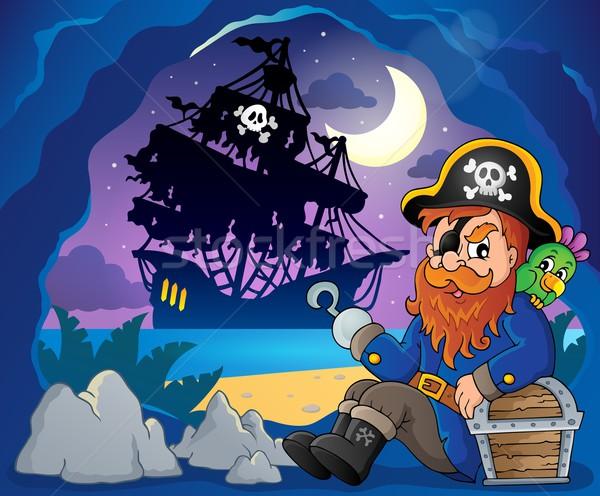 Sitting pirate theme image 3 Stock photo © clairev