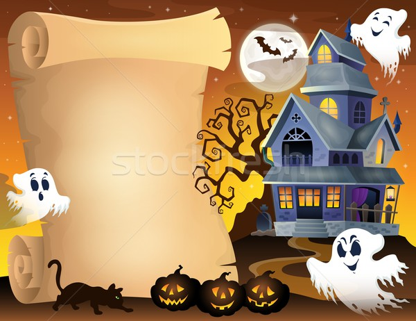 Parchment with haunted house thematics 3 Stock photo © clairev