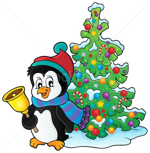 Christmas Pingwin temat obraz drzewo projektu Zdjęcia stock © clairev