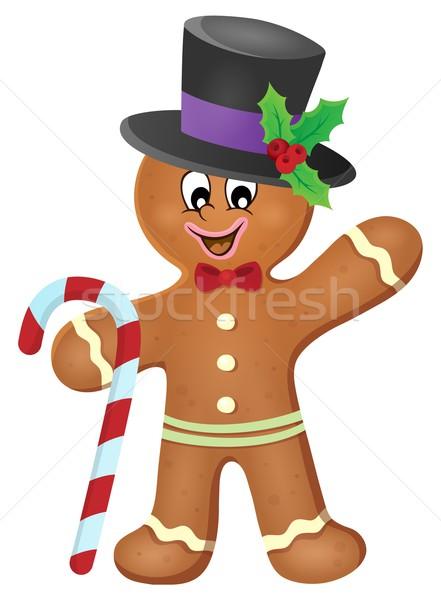 Gingerbread man image alimentaire bonbons chapeau célébration Photo stock © clairev