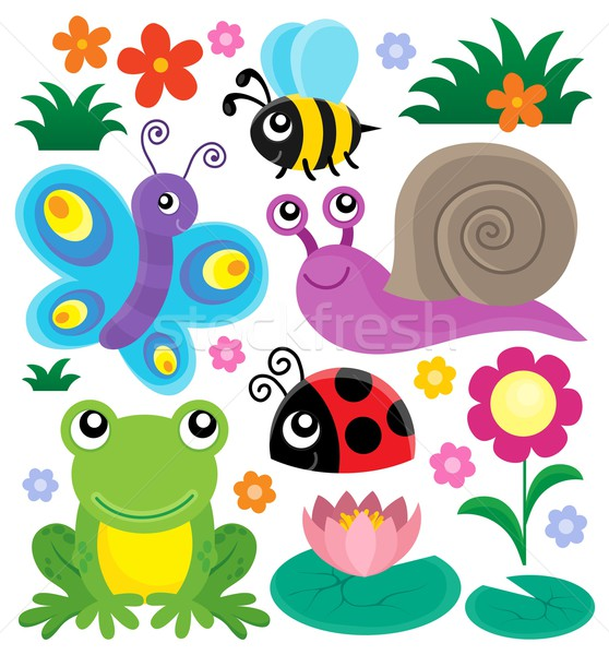 Spring animals and insect theme set 1 Stock photo © clairev