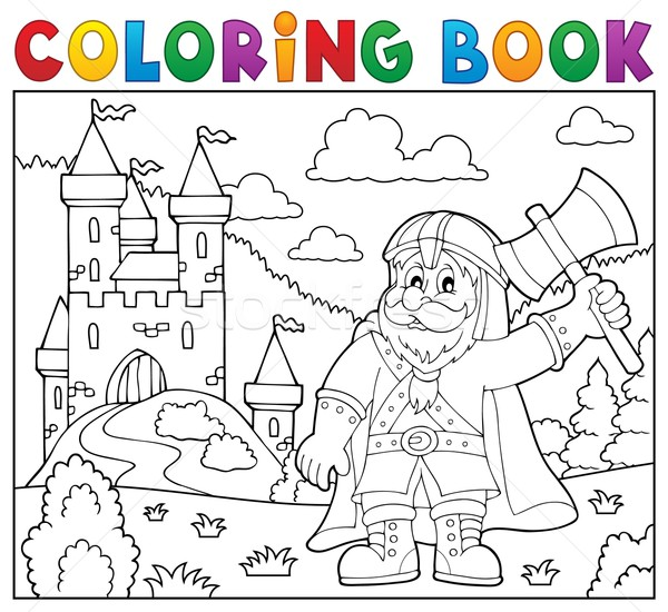 Coloring book dwarf warrior theme 2 Stock photo © clairev