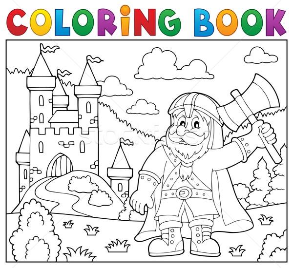 Livro para colorir anão guerreiro livro pintar arte Foto stock © clairev