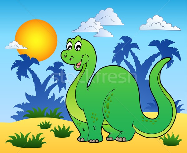 Dinosaur in prehistoric landscape Stock photo © clairev