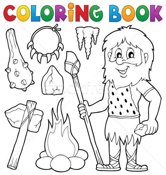 Coloring book prehistoric thematics 1 Stock photo © clairev