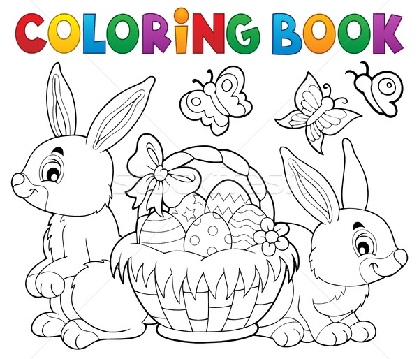 Coloring book Easter basket and rabbits Stock photo © clairev