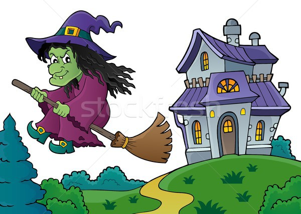 Stock photo: Witch on broom theme image 8