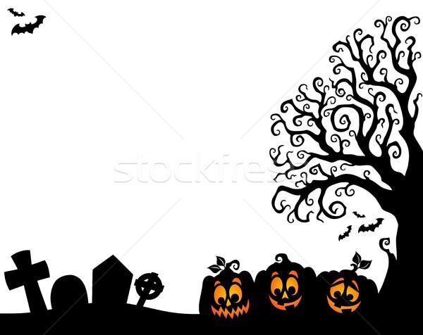 Halloween tree half silhouette theme 3 Stock photo © clairev