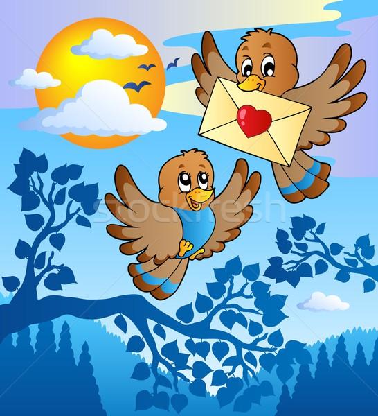 ストックフォト: 2 · かわいい · 鳥 · 愛 · 手紙 · 空