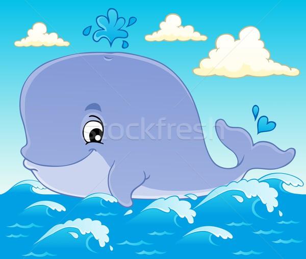 Bálna kép terv művészet óceán mosolyog Stock fotó © clairev