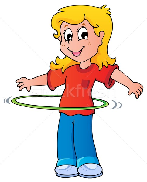 Girl exercise with hula hoop Stock photo © clairev
