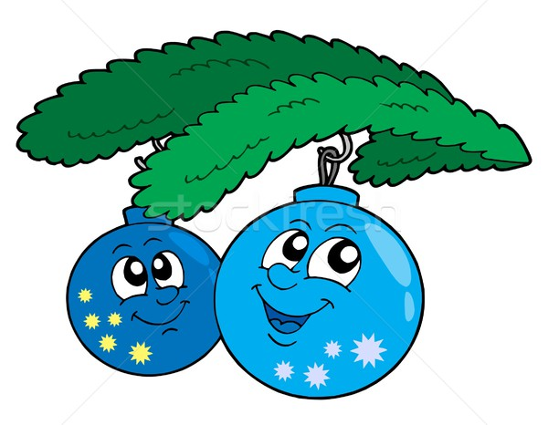 Cute blue Christmas globes Stock photo © clairev