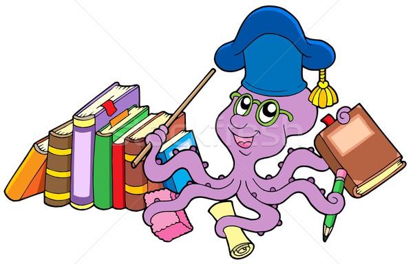 Octopus leraar boeken papier zee potlood Stockfoto © clairev