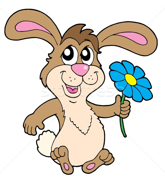 Smiling rabbit with flower vector illustration Stock photo © clairev