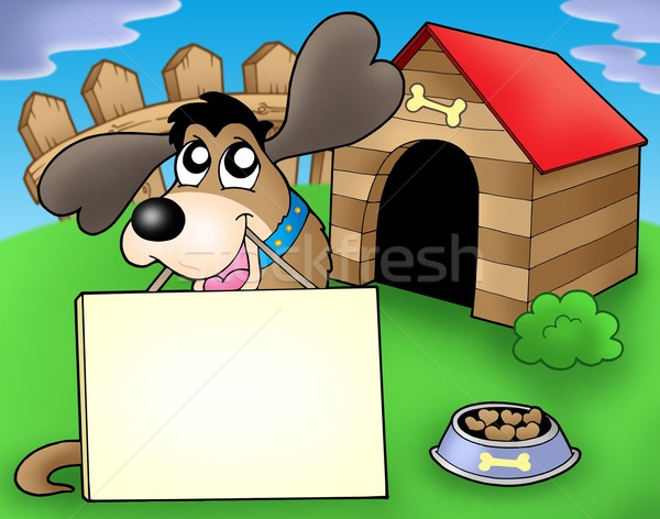 Dog with sign in front of kennel Stock photo © clairev