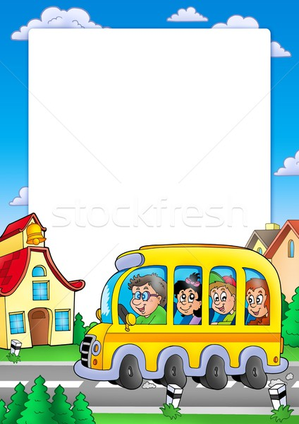 School frame with bus and kids Stock photo © clairev