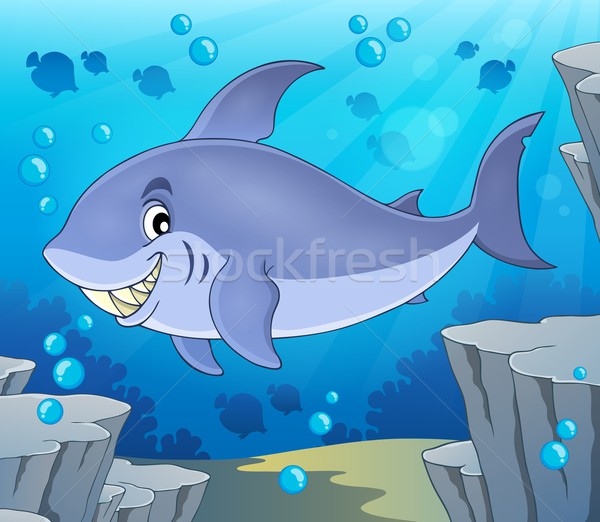 Imagem tubarão peixe arte oceano rocha Foto stock © clairev