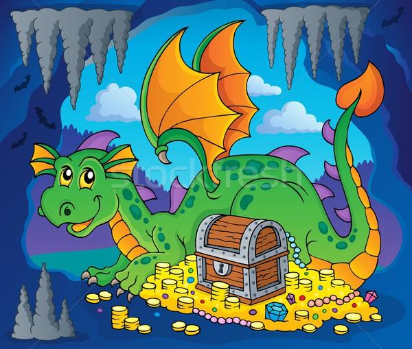 Dragon with treasure theme image 3 Stock photo © clairev