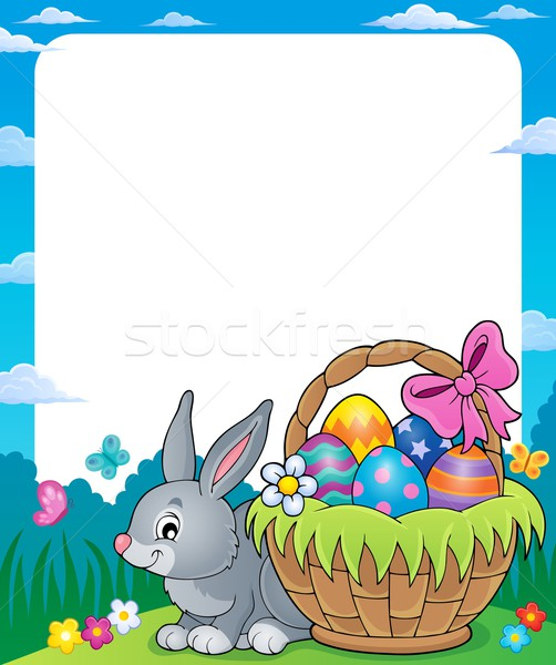 Frame with Easter basket and bunny 1 Stock photo © clairev