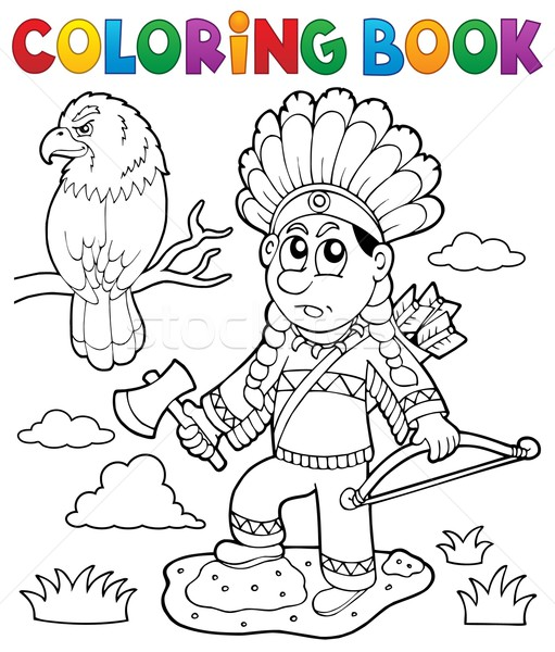 Coloring book Indian theme image 2 Stock photo © clairev