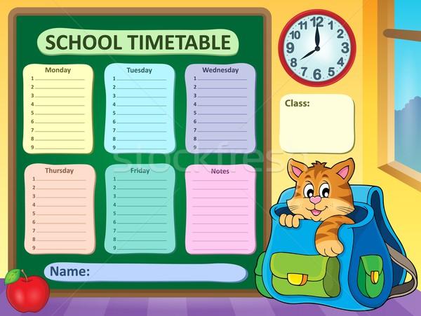 Heti iskola időbeosztás óra művészet asztal Stock fotó © clairev